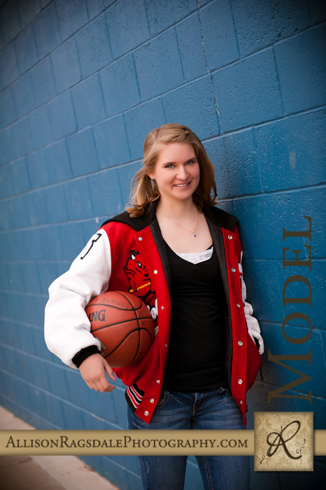 Durango Senior Portrait on Blue Wall with Basketball