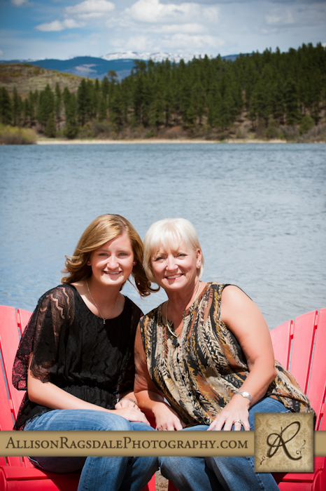 durango lake and mountains mom daughter picture