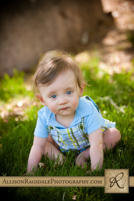 portrait of baby boy in grass