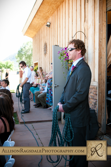 climbing rope wedding ceremony picture