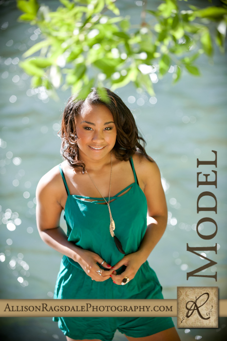 teal romper by river senior portrait