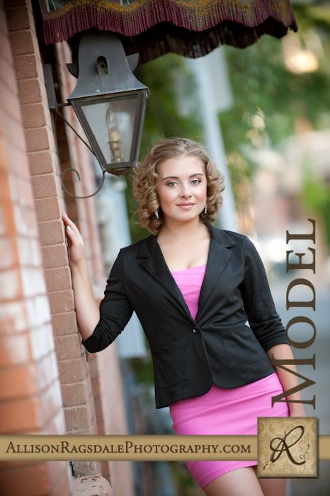 black blazer with pink dress senior picture
