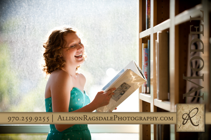 senior portrait with books