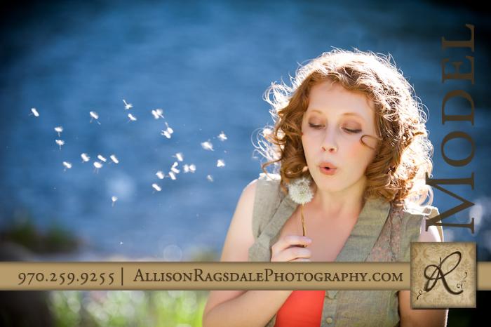 senior photo blowing dandelion