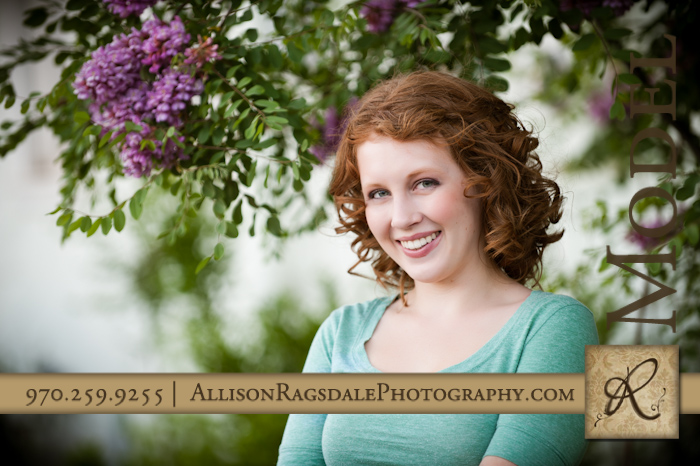 senior girl picture with purple flowers