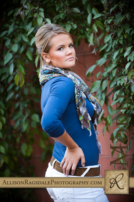 Blue Top with Green Vines Senior Pic