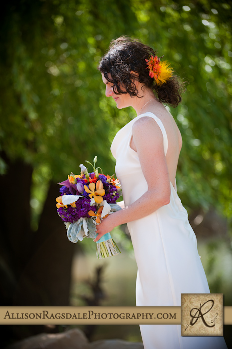 stunning bride and her bouquet from aprils garden durango picture