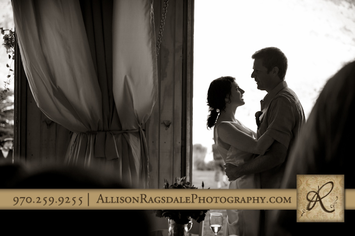 bride and groom silhouette at wedding reception portrait