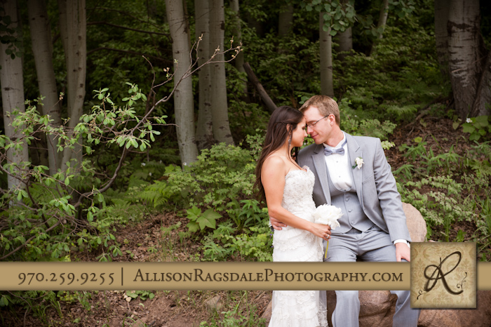 bride and groom in forest picture