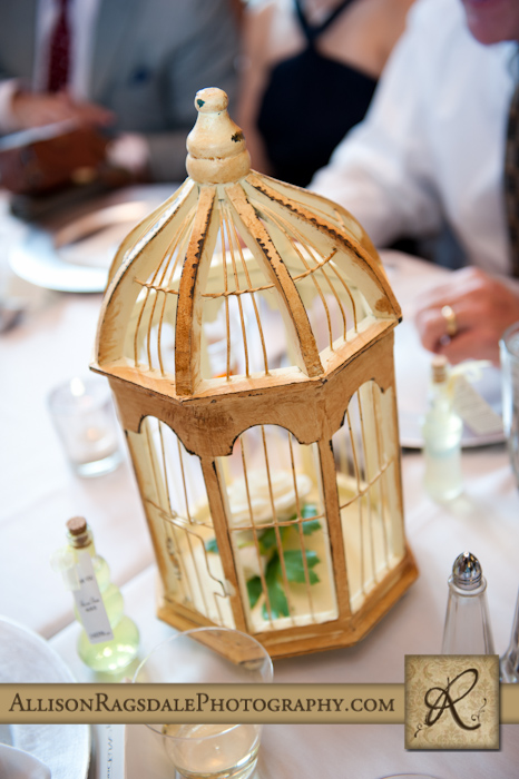 bird cages on wedding reception tables