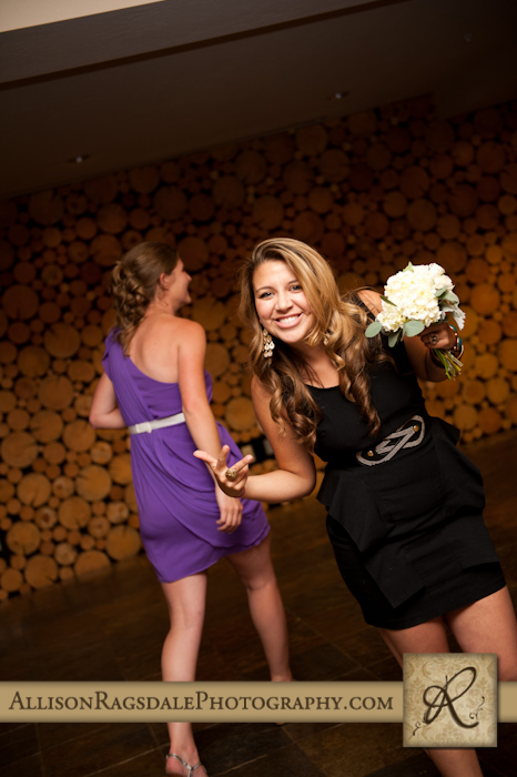 lucky girl who caught the bouquet at wedding