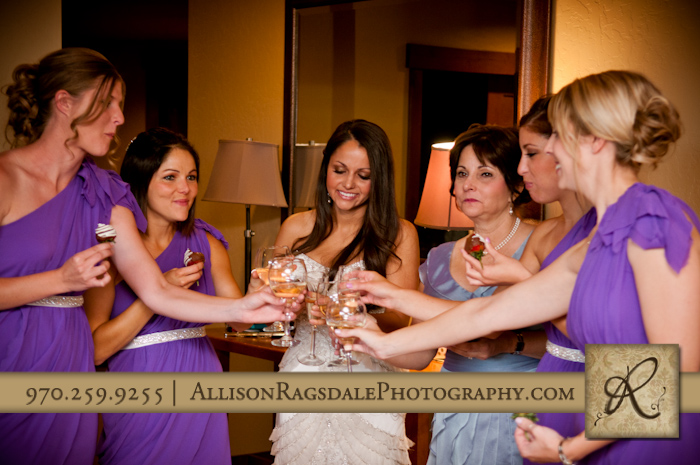 bridal party toasting bride before ceremony
