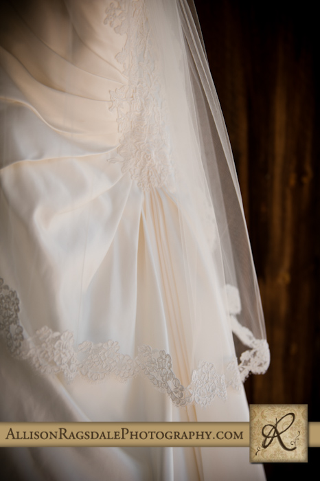 wedding dress and veil at bridal cabin at sleeping beauty ranch