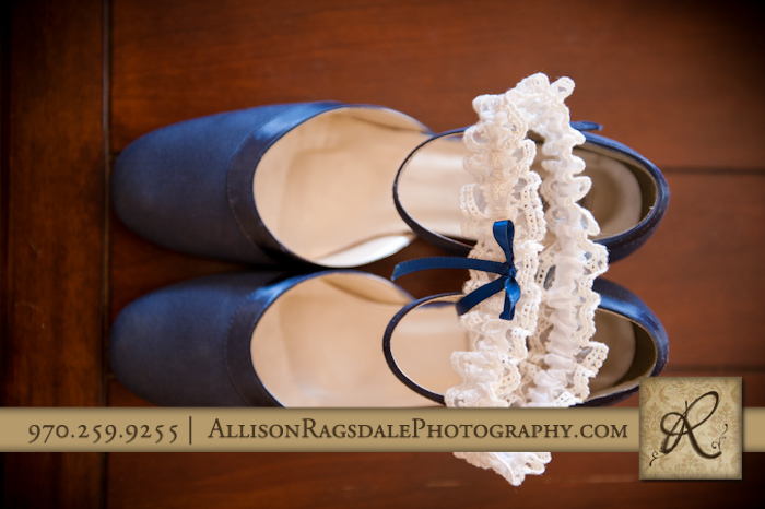 garter and brides shoes