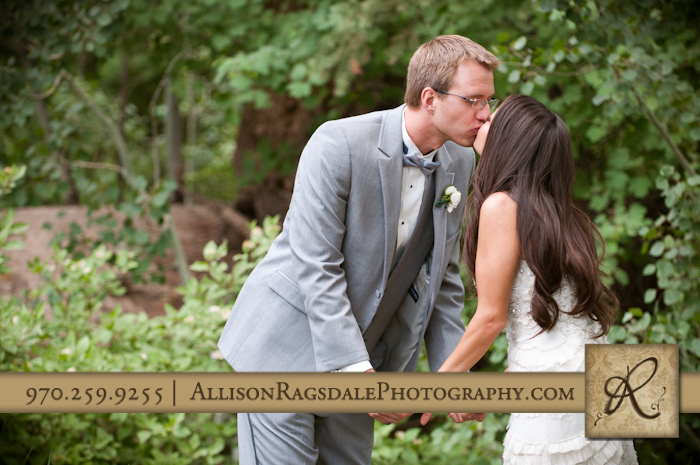 newlyweds kissing photo