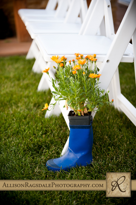 flowers in rainboots at animas valley sleeping beauty ranch in durango