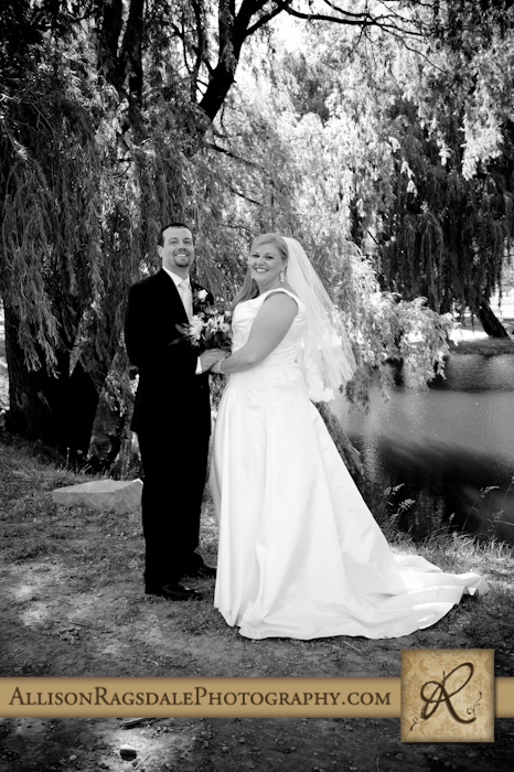 black and white wedding couple portrait