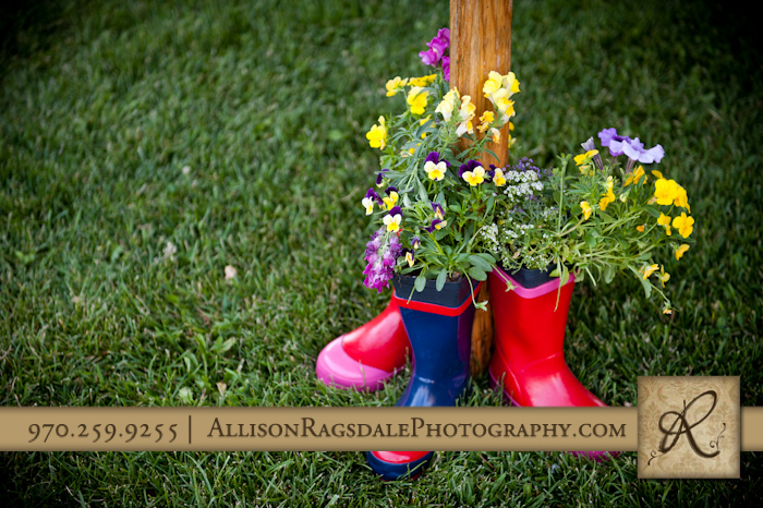 rainboots wtih flowers at animas valley sleeping beauty ranch wedding
