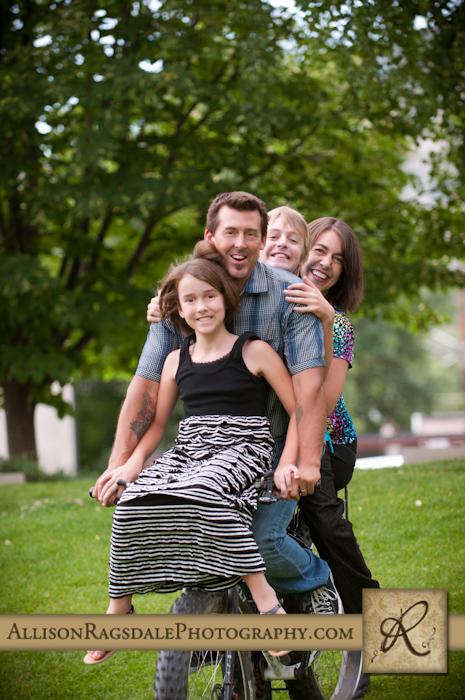 durango family photo on a bicycle