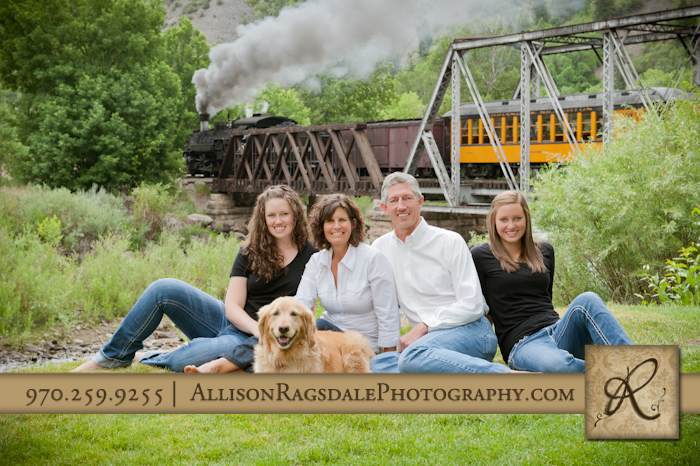 durango family picture with silverton train in background