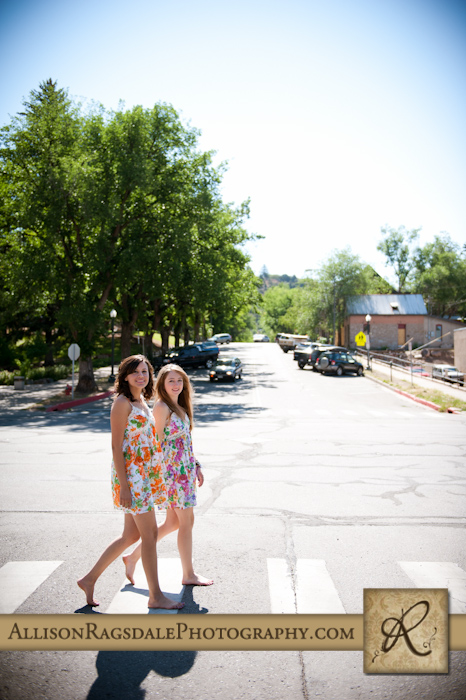 sisters walking down main street in durango in matching dresses picture