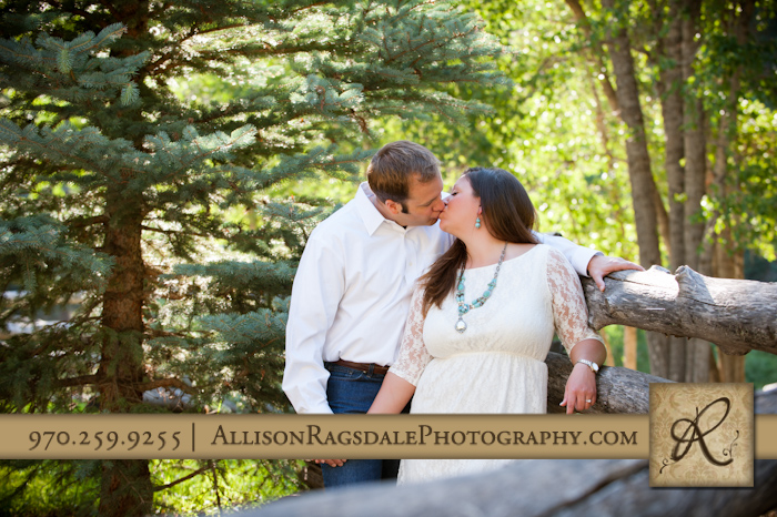 engagement photo on rustic fence in durango colorado