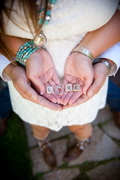 love spelled with scrabble letters and engagement ring picture
