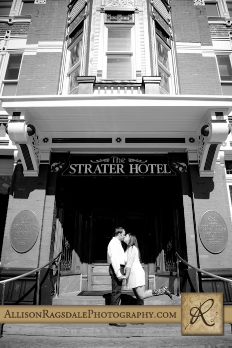 strater hotel entrance durango colorado engagement picture