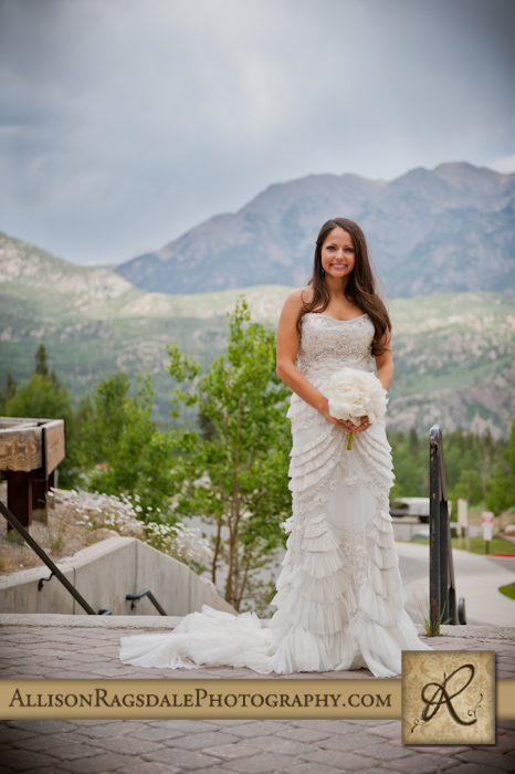 bride with beautiful durango mountain backdrop