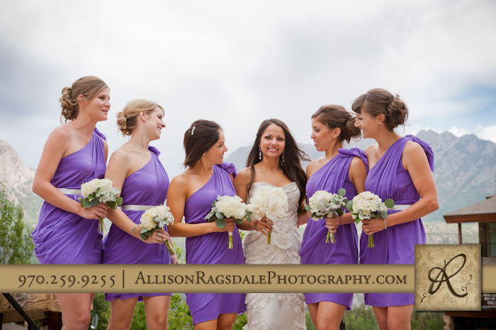 bride and her bridesmaids before wedding ceremony