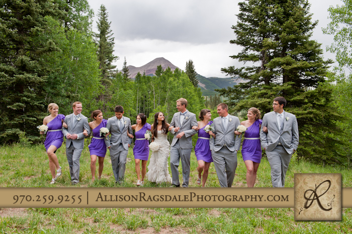 wedding party walking with engineer mountain in background