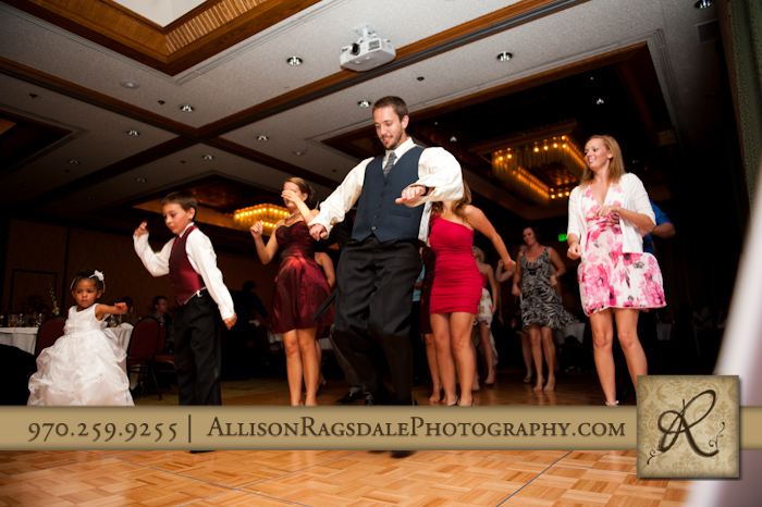 line dancing at wedding reception double tree hotel durango