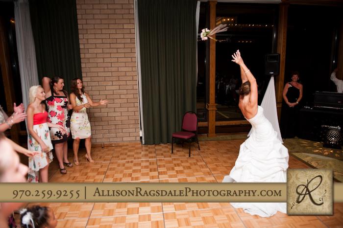 bouquet toss durango co double tree hotel wedding reception