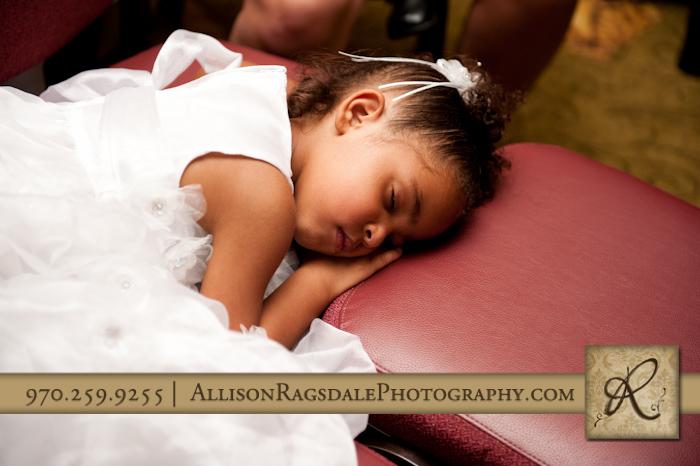 flower girl falls asleep at wedding reception double tree durango