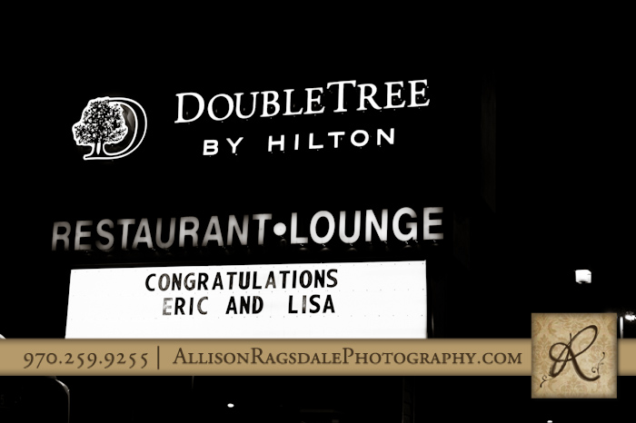 wedding reception at double tree congratulations sign on marquee durango