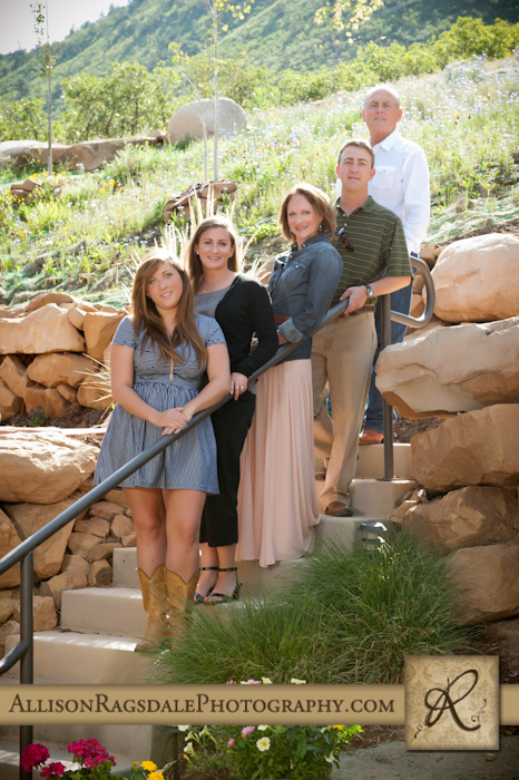 family picture in beautifully landscaped durango house