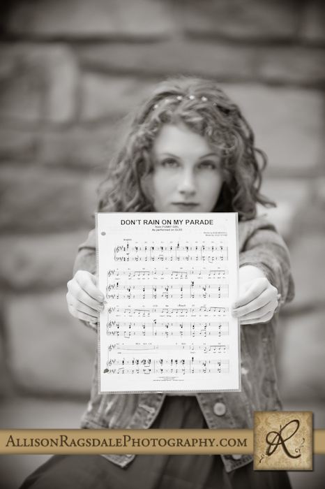 senior portrait with sheet music in durango colorado