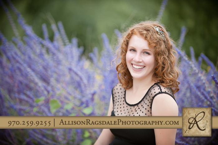 hs senior girl photo in purple flowers at fort lewis college