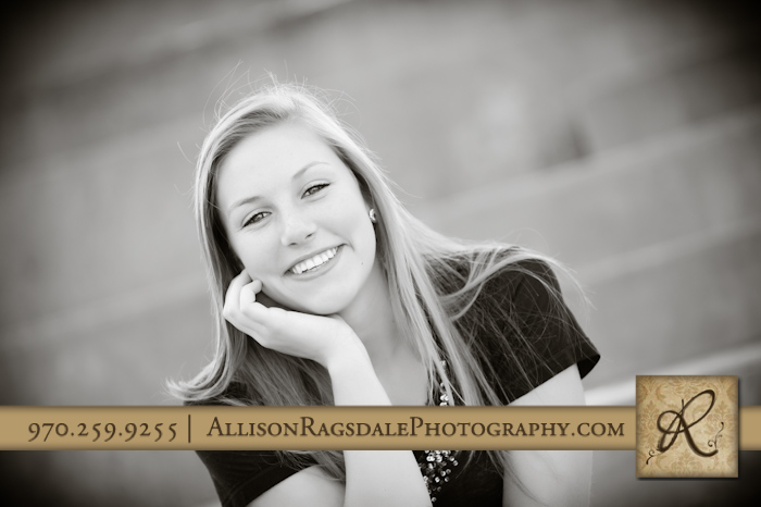 bayfield girl on stairs in durango for her senior pictures