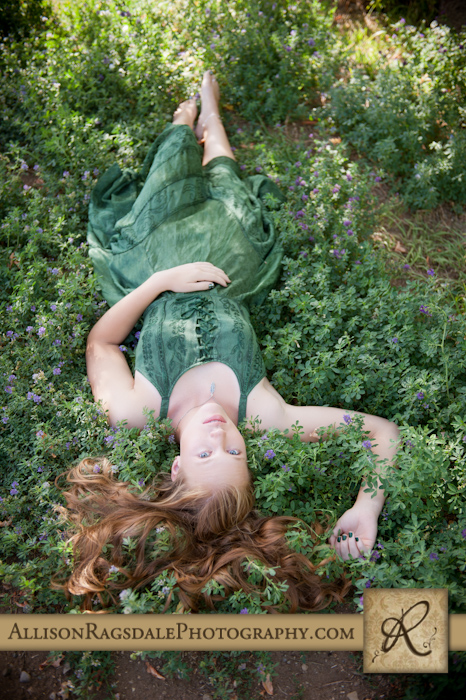 animas high senior picture laying in flowers durango co