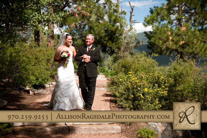 father walking daughter down aisle for wedding ceremony at glacier club durango co