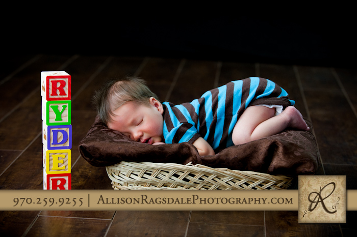baby boy picture in studio with blocks