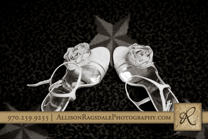 bridesmaids shoes in the glacier club durango co