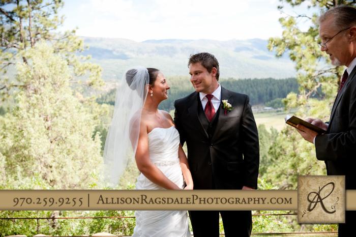 bride and groom at durango wedding ceremony at the glacier club