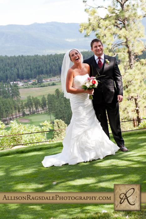 bride laughs during wedding ceremony at a durango glacier club wedding