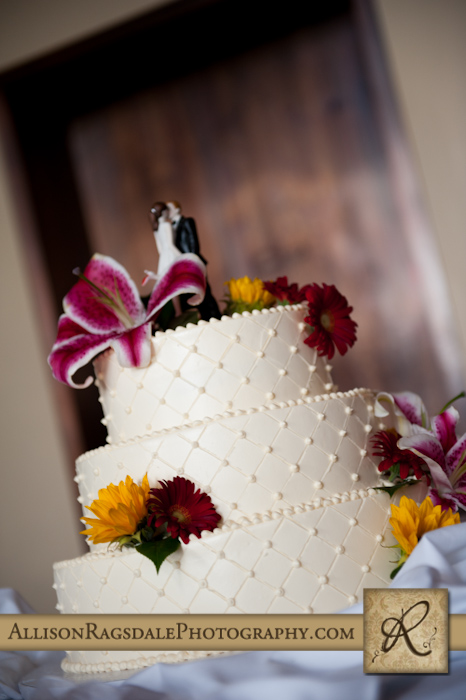 wedding cake by barb mills for wedding at the glacier club in durango co