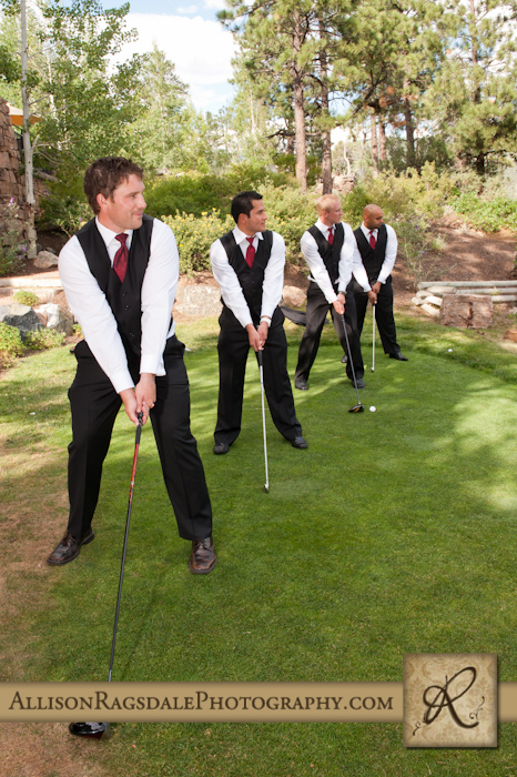 groomsmen golfing at the glacier club for a durango wedding