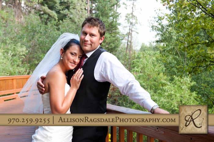 bride and groom at the glacier club in durango at destination wedding