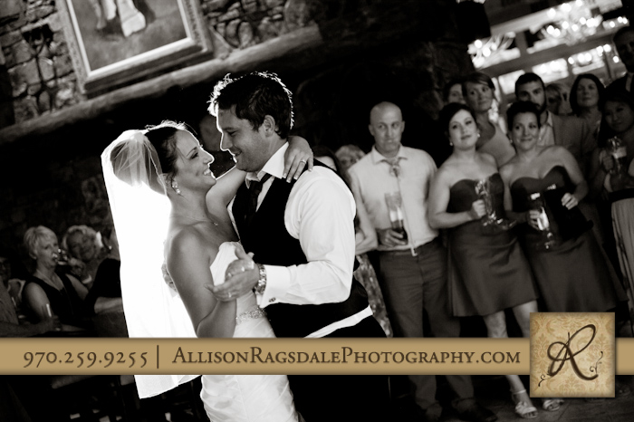 first dance for newlyweds at wedding reception at the glacier club in durango co
