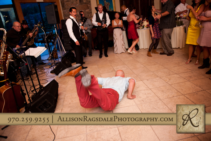 the worm dance move at wedding reception at the glacier club in durango co